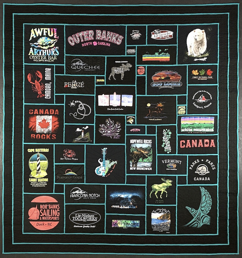 Travel T-shirt quilt, all black made with stained glass method