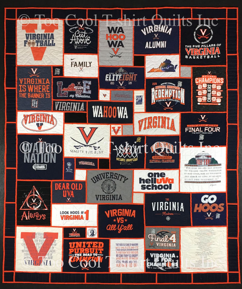 UVA stained glass style T-shirt quilt