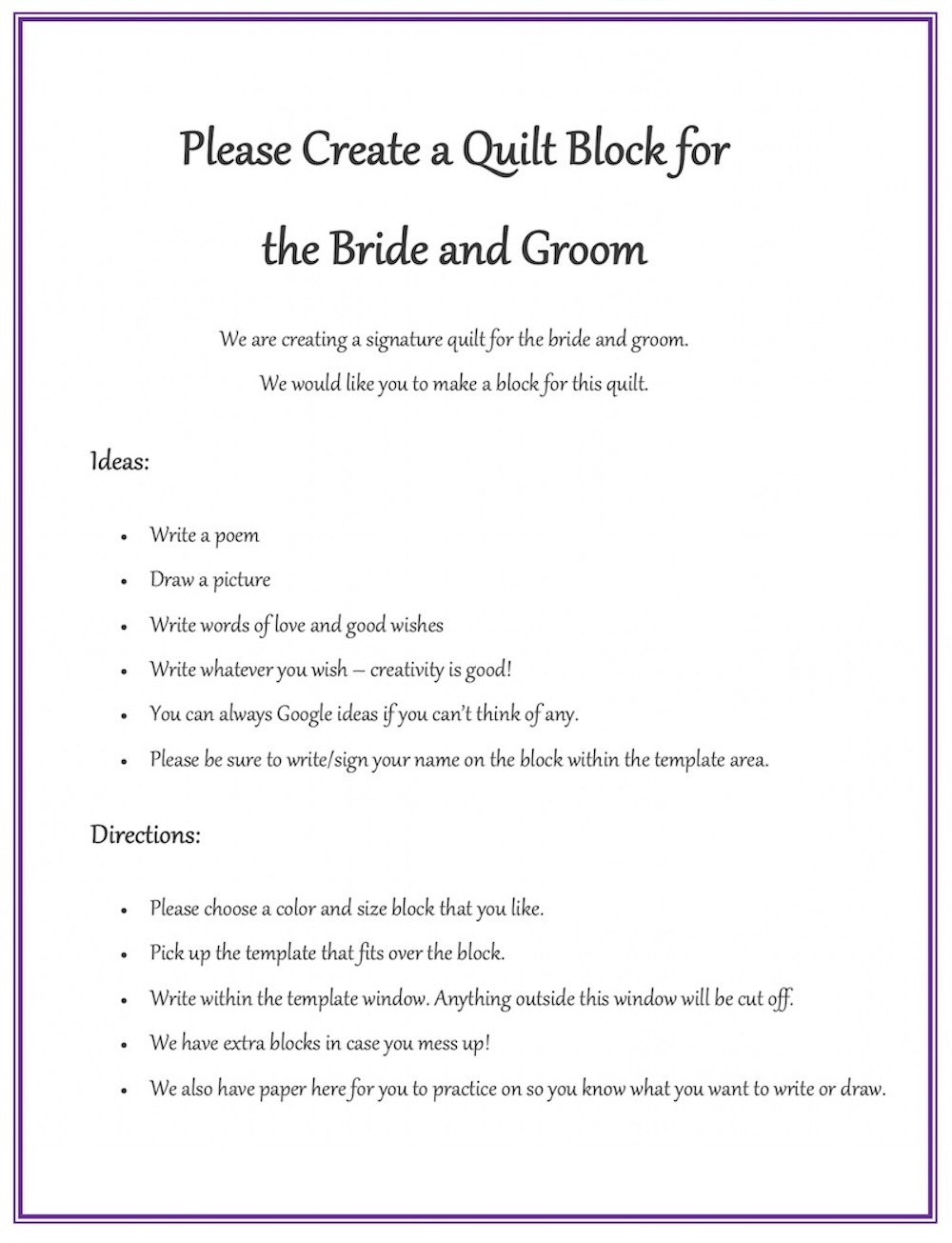 Wedding Quilt Directions example