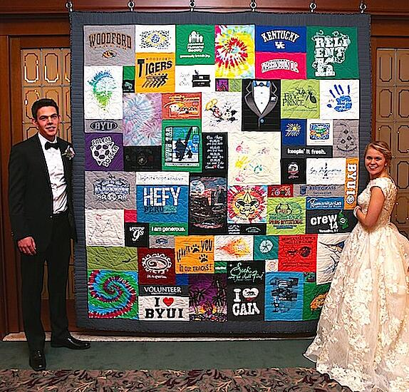 Wedding reception T-shirt quilt display