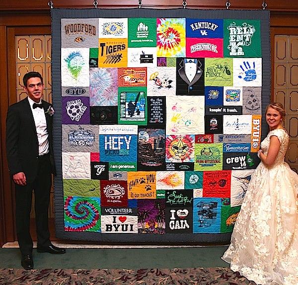 Wedding reception T-shirt quilt display