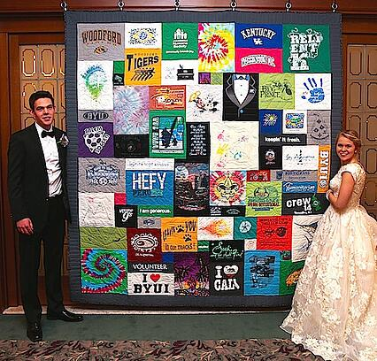 Joint T-shirt quilt at a wedding reception