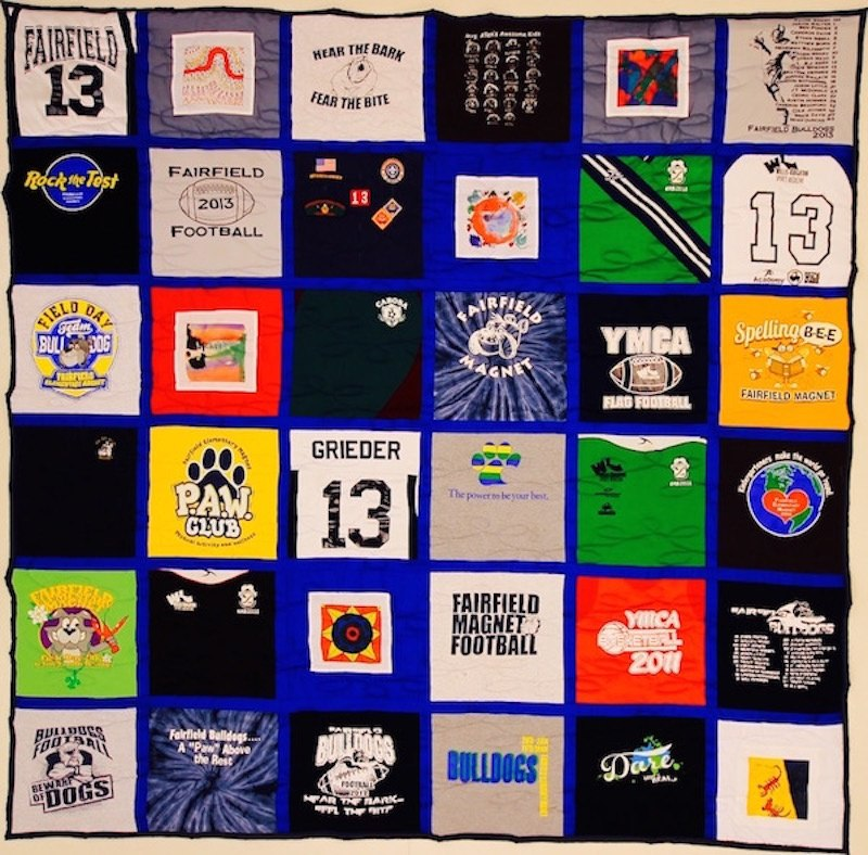 Traditional style t-shirt quilt with sashing