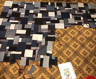 Working on Jean quilt
