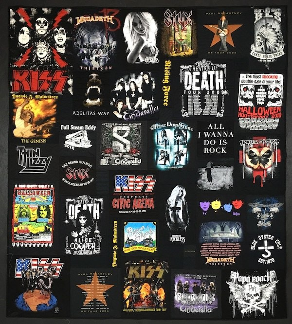 An all black rock concert T-shirt quilt