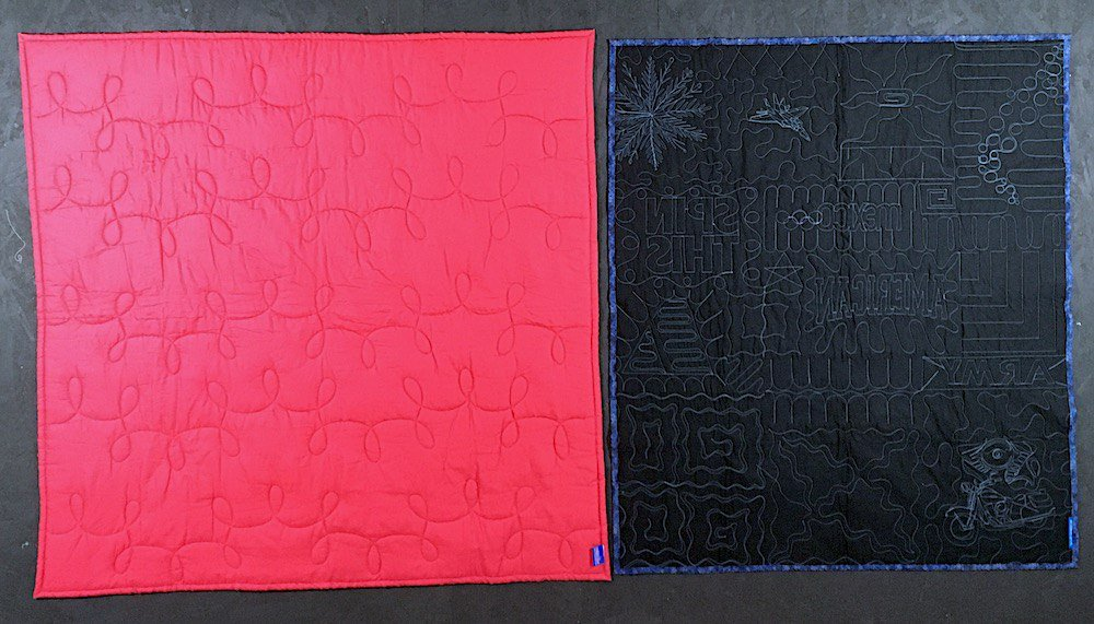 back of too cool vs back of campus quilt