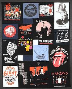 Rock concert T-shirt quilt. This quilt includes T-shirts from the Maroon 5 and the Rolling Stones.