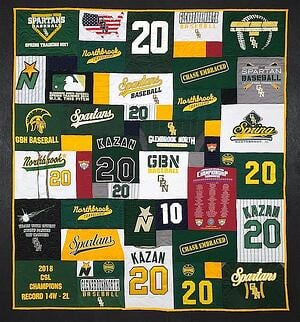 This is a baseball themed graduation T-shirt quilt