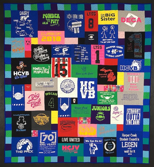 A T-shirt quilt with an awesome T-shirt quilt