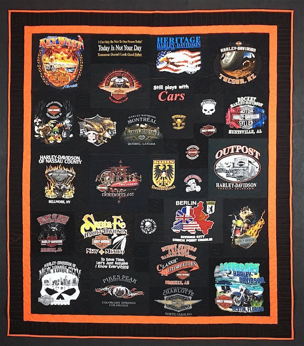 A T-shirt quilt made from all black T-shirts. This includes a orange border