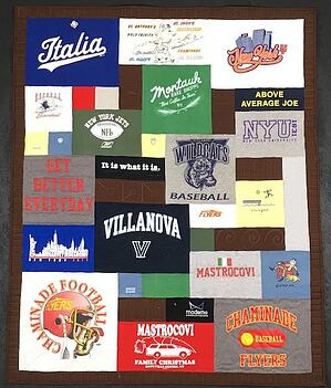 examples of using blank blocks of fabric to add another color to a T-shirt quilt.