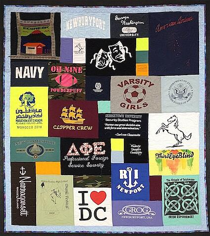 T-shirt quilt made from a lifetime of T-shirts.