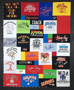 A cool T-shirt quilt - the blocks are balanced.