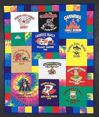 T-shirt quilt that features a lot of Tie-dyed T-shirt material
