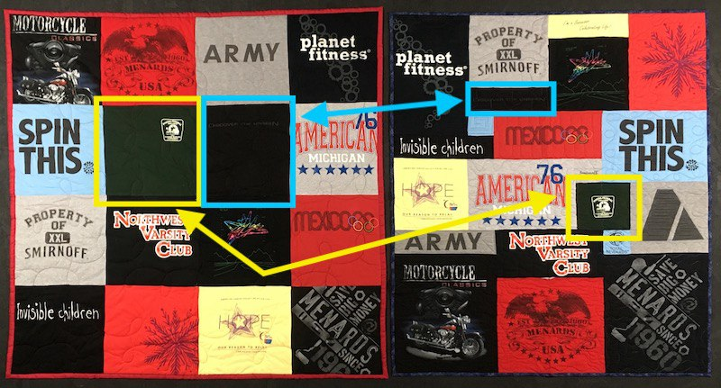 """On the left side of this photo is the Campus Quilt and the Too Cool is on the right. Highlighted are two block. In Campus Quilt, both these T-shirts were cut with a 14"""" block. This left a lot of margin around  the designs. On the right is the Too Cool quilt. The blocks were cut with much smaller. This saved space for other T-shirts. And it doesn't look dorky."""