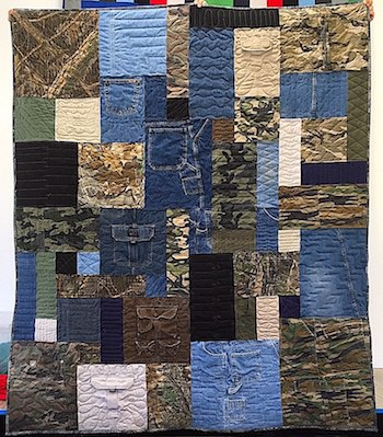 clothing quilt from blue jeans