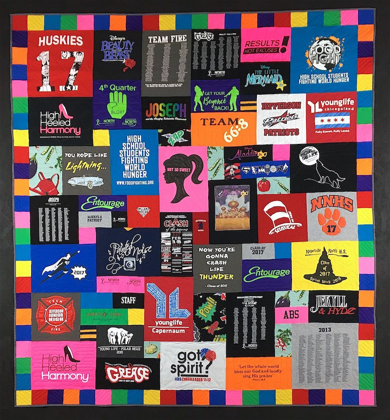 Colorful high school graduation T-shirt quilt