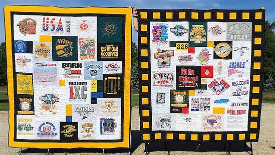 """The two quilts here show the difference between a 2"""" + 4"""" solid border and a 2 """" + 4"""" pieced + 2"""" solid border. Both use a black and yellow color palette."""