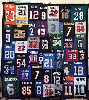so many different numbers on a T-shirt quilt.