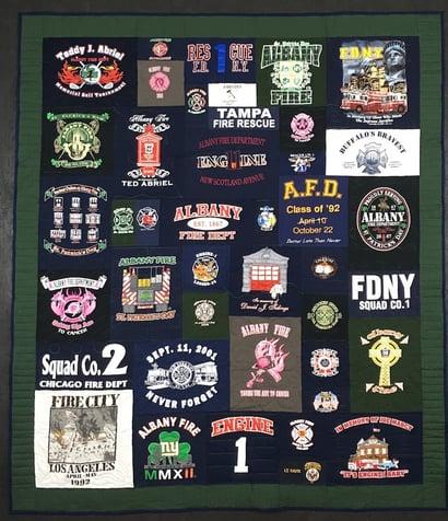 fireman T-shirt quilt from firehouse T-shirts