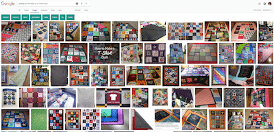 """A Google image search for the """"backs of T-shirt quilts"""" come up with nothing!"""