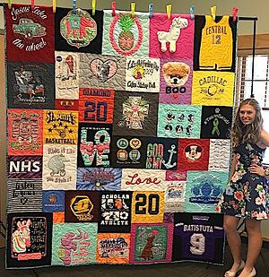 A graduation T-shirt quilt is something that all high school graduates want and need!