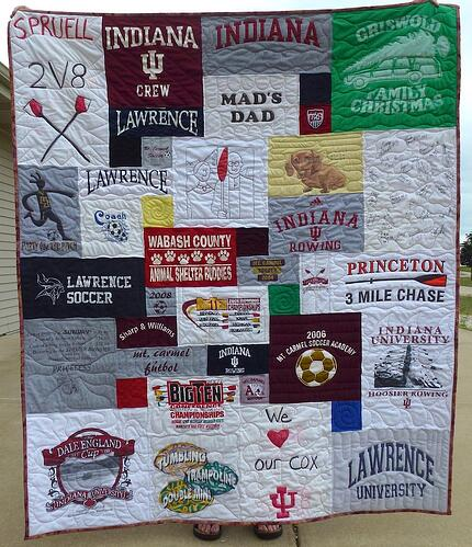 homemade t-shirt in a quilt makes for a large block