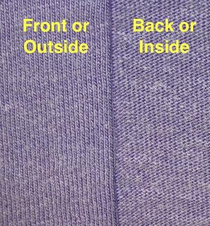 This shows the difference between the front and the back of a piece of T-shirt material.