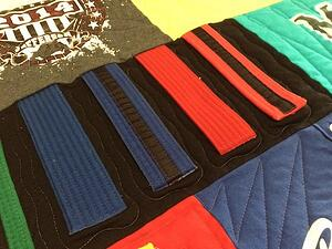 karate belts used in a tee shirt quilt