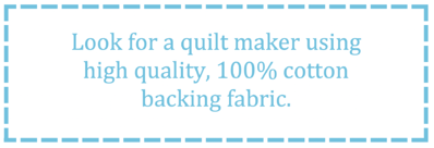 What to look for in a T-shirt quilt - 100% cotton backing fabric