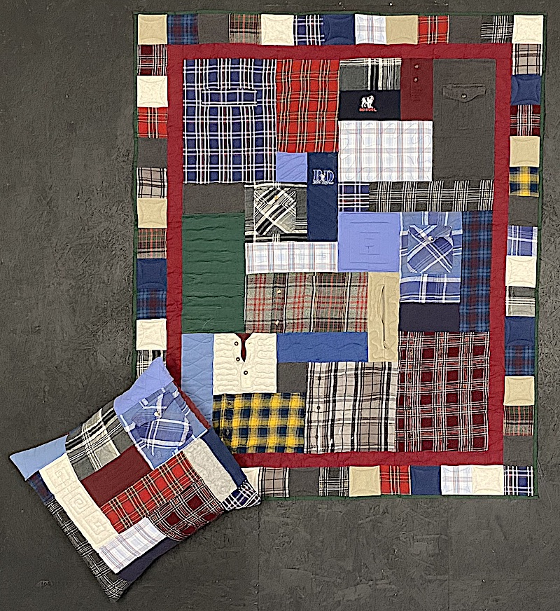 memorial quilt and pillow made from plaid shirts