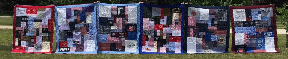 memorial quilts lined up