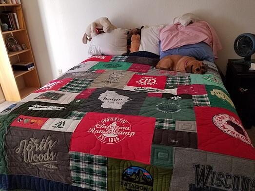 memory quilt made from T-shirts and plaid shirts