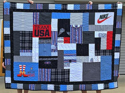 Quilt made from plaid shirts and T-shirts