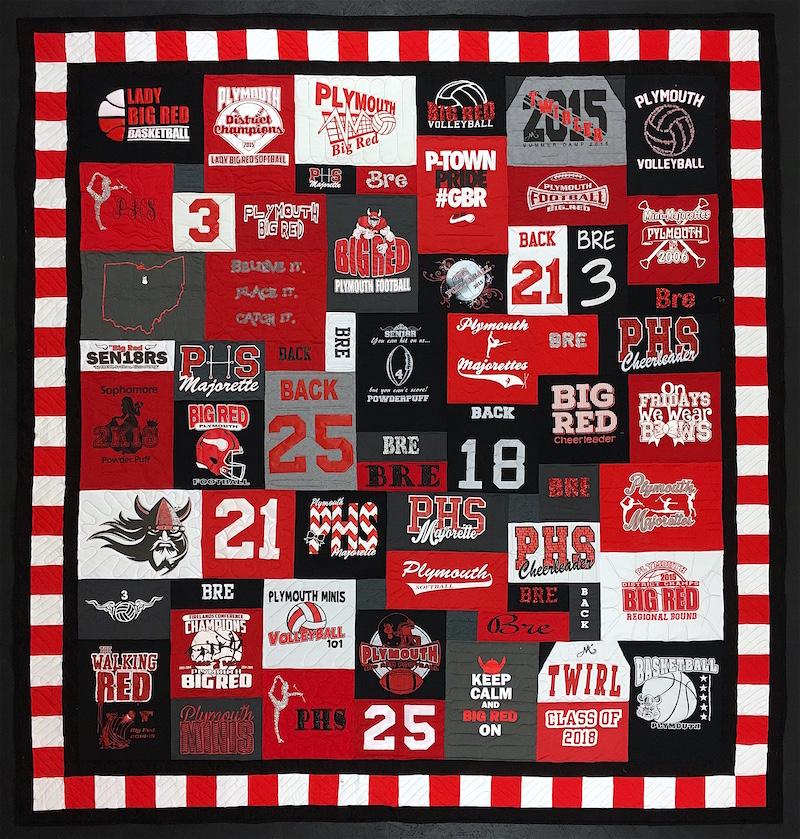 Plymouth HS graduation T-shirt quilt by Too Cool T-shirt Quilts.