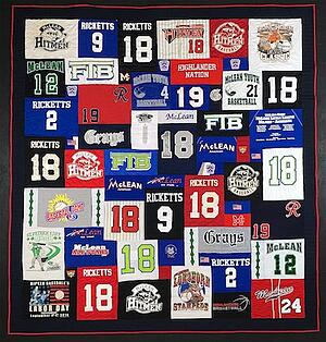 Name and numbers on a T-shirt quilt.