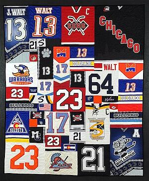 players numbers on a hockey jersey quilt