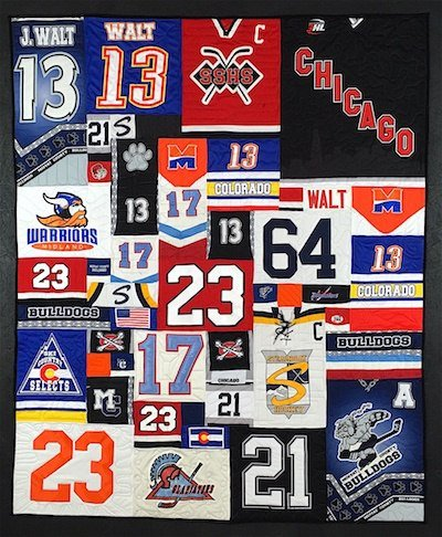 Hockey jerseys can be used in a quilt or T-shirt quilt.