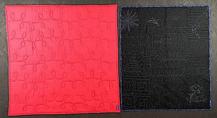 compare the quilting on a campus quilt and a too cool t-shirt quilt