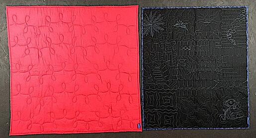 compare a poorly quilted T-shirt quilt with an awesomely quilted quilt