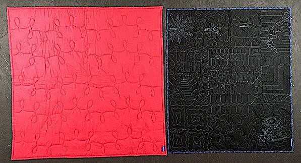 This photo shows the minimal quilting on a Campus Quilt compared to the full quilting done on a Too Cool T-shirt Quilt.