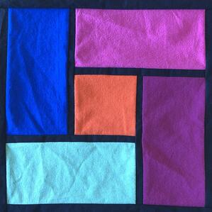 Trial of the stained glass T-shirt quilt method.
