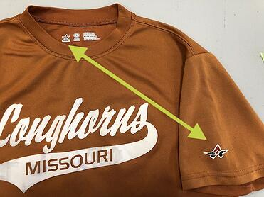 We are able to figure out from the tag in this shirt that the logo on the sleeve is a ad that we don't want to use.