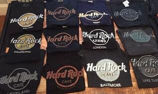 Hard Rock Cafe logo over and over