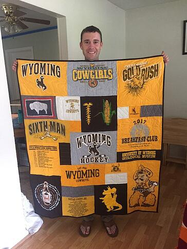 Wyoming Cowboys T-shirt quilt