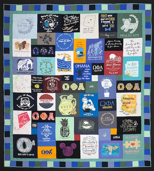 A cool sorority T-shirt quilt.