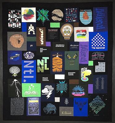 A T-shirt quilt made from The nationals concert T-shirts.