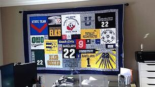 T-shirt quilt wall hanging