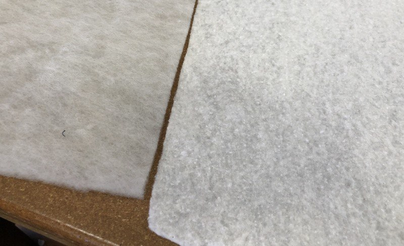 this is a comparison of wool and cotton battings.