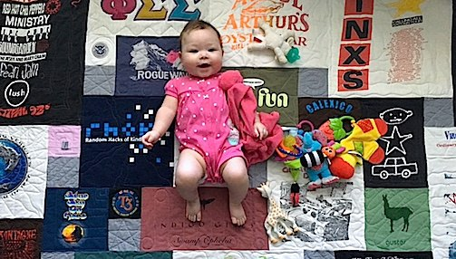 Baby on T-shirt quilt